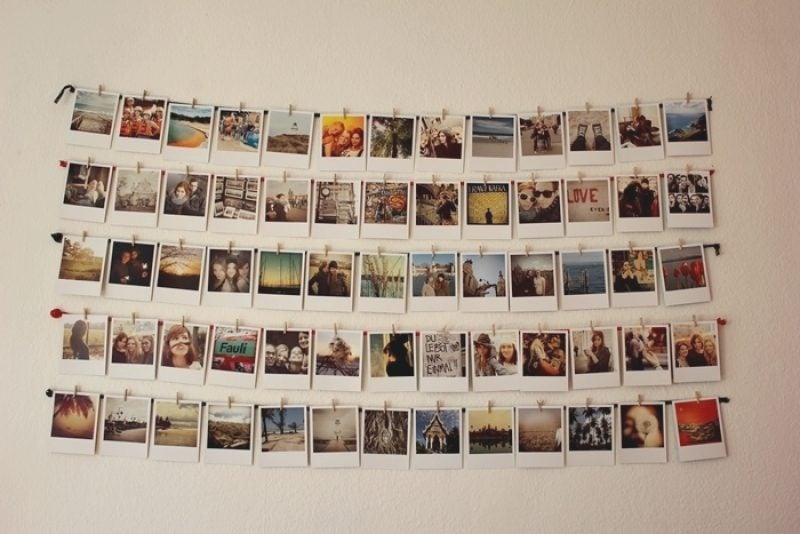 Fotowand gestalten ohne Bilderrahmen Wäscheklammern Schnur