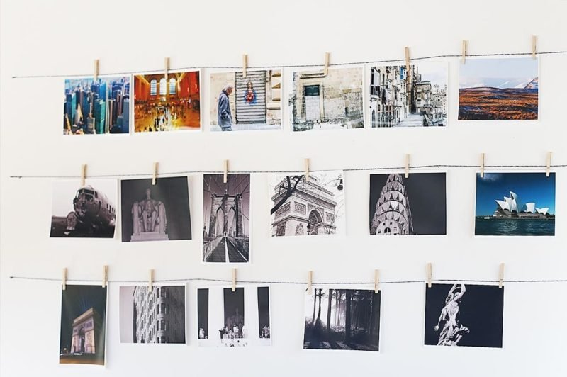 Fotowand gestalten ohne Bilderrahmen Wäscheklammern