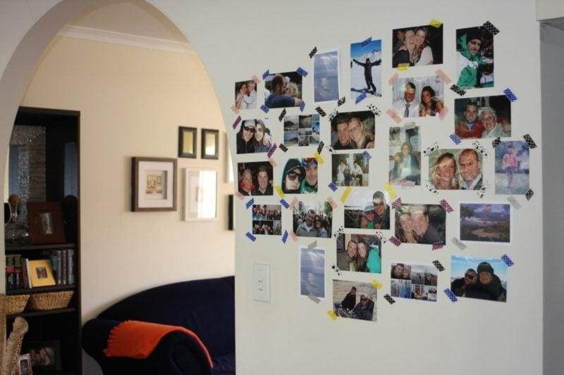 Fotowand gestalten ohne Bilderrahmen Ideen mit Washi Tape