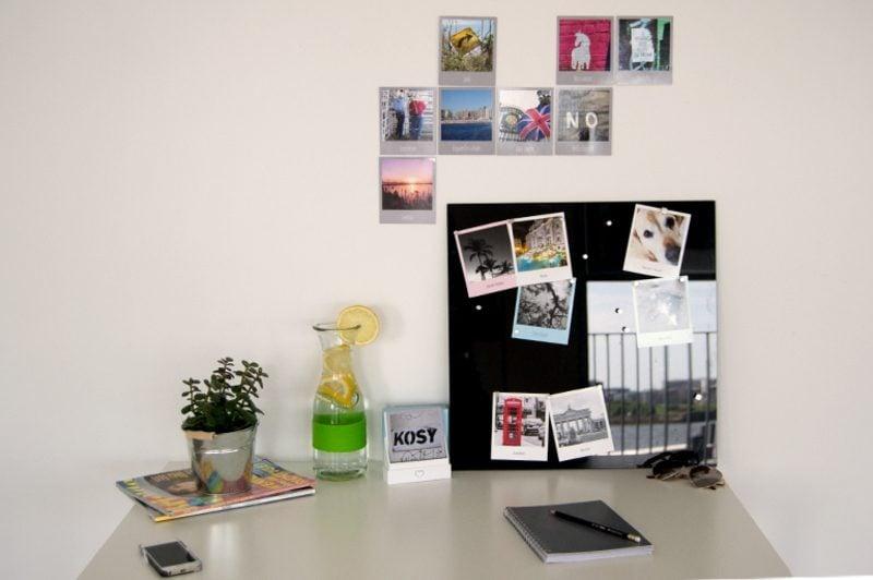 Fotowand gestalten ohne Bilderrahmen kleine Variante fürs Büro