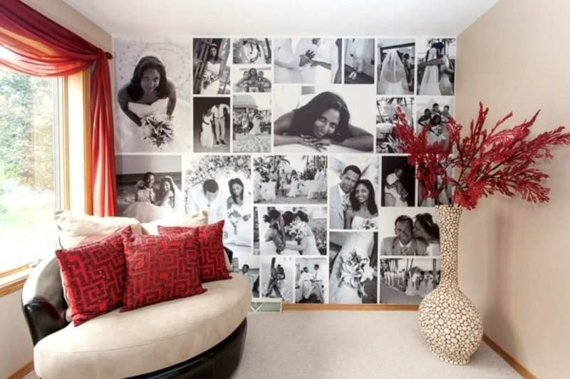Fotowand gestalten ohne Bilderrahmen schwarz weiss romantisch