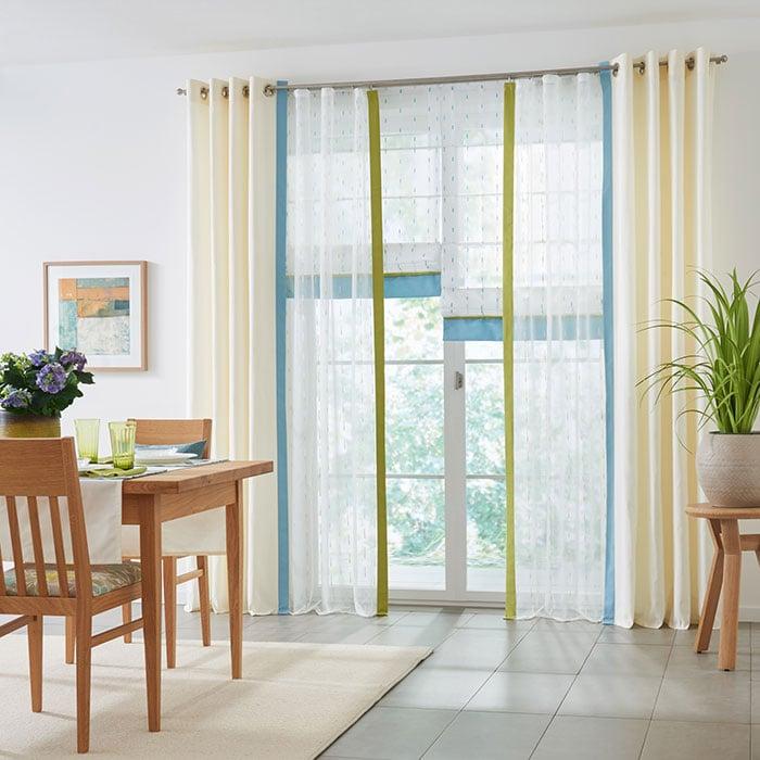 Gardinen Dekorationsvorschläge transparent Streifen bunt