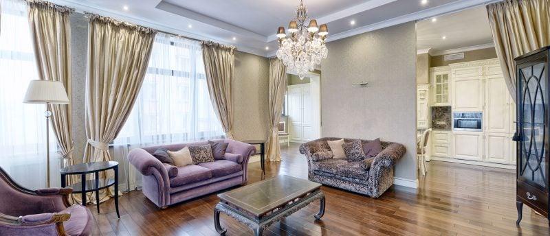 Gardinen Dekorationsvorschläge beige wohnzimmer Barock Stil