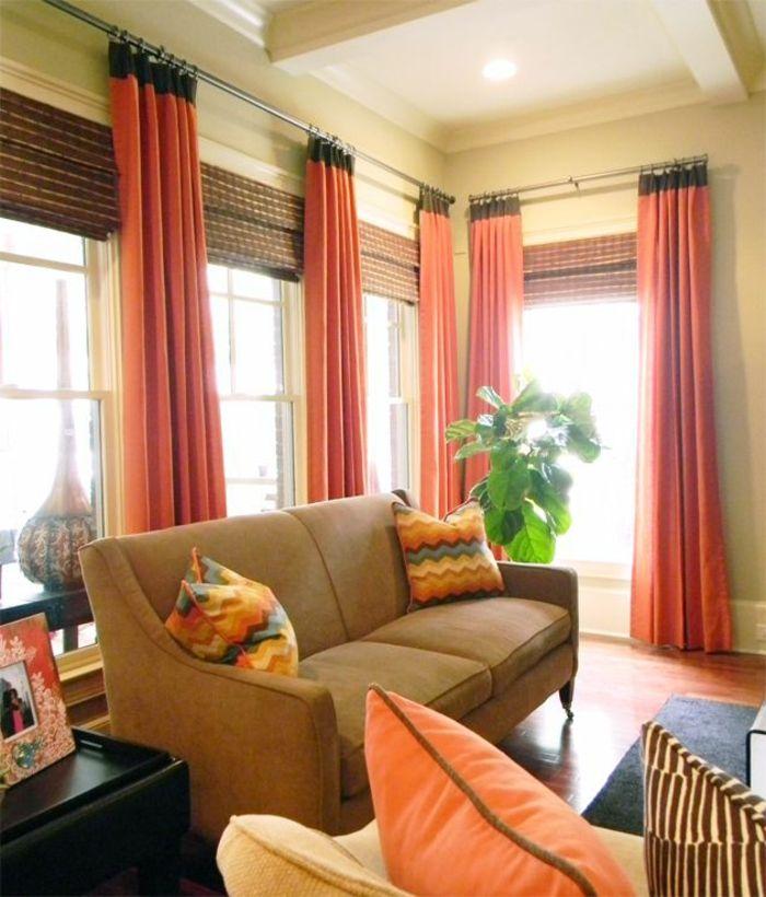 Gardinen Dekorationsvorschläge rot Wohnzimmer