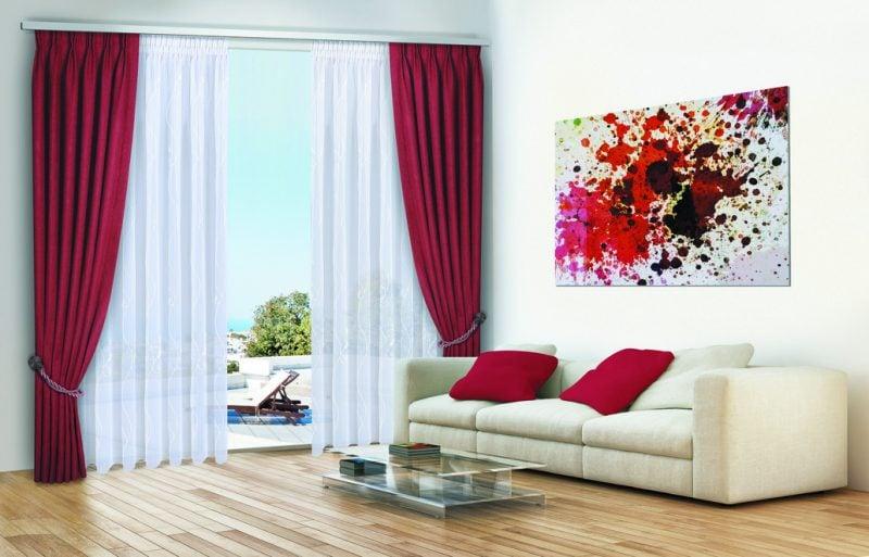 Gardinen Dekorationsvorschläge Wohnzimmer weiss rot