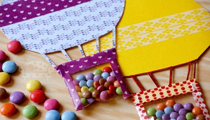 Einladung Kindergeburtstag Heissluftballon mit Bonbons