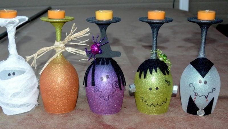 Gläser dekorieren DIY Teelichthalter zum Halloween