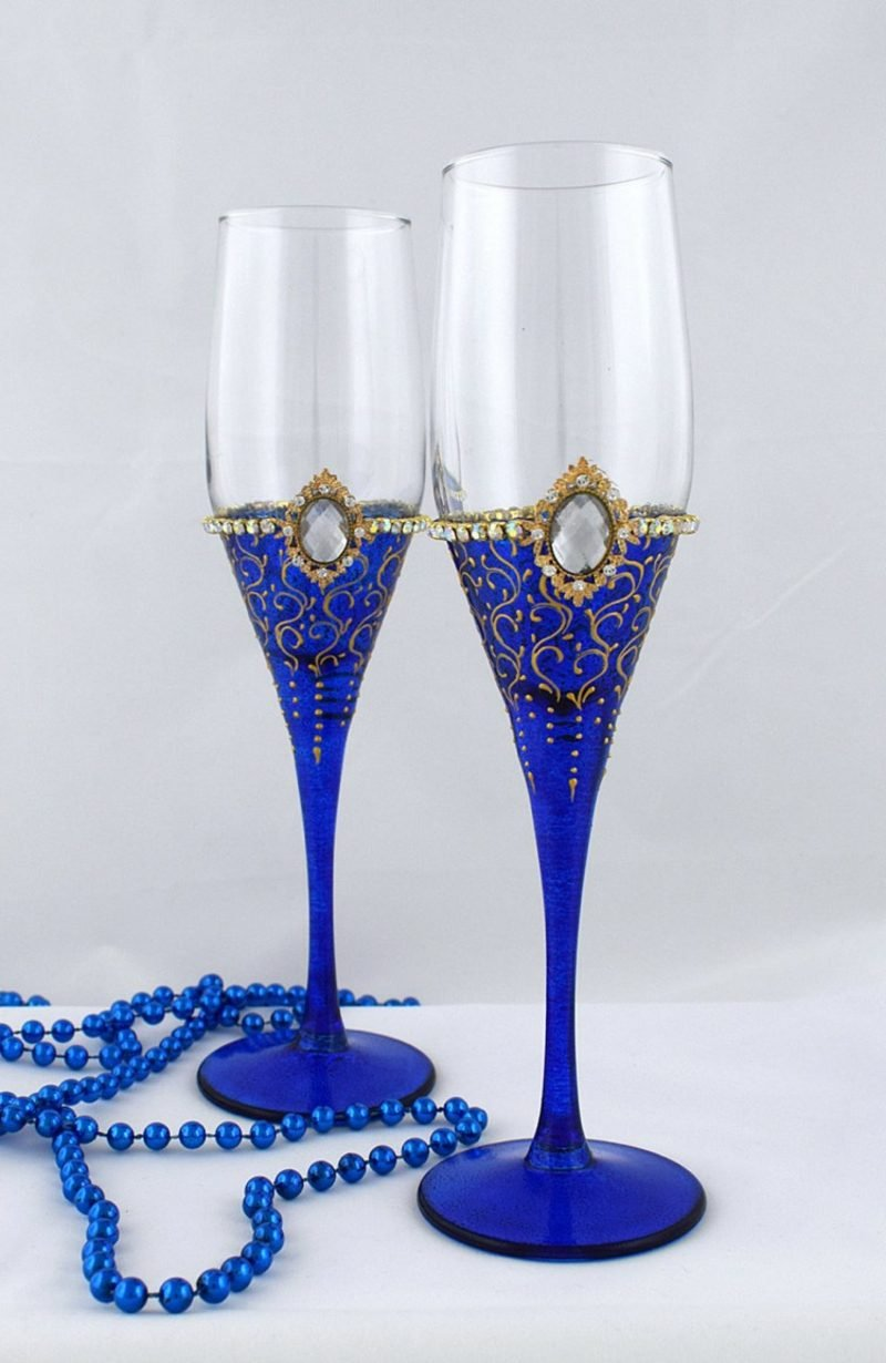 Gläser dekorieren Kobaltblau Edelsteinimitation