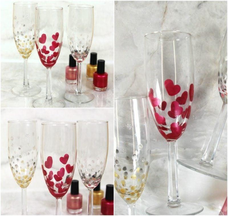 Gläser dekorieren mit Nagellack Herzmuster