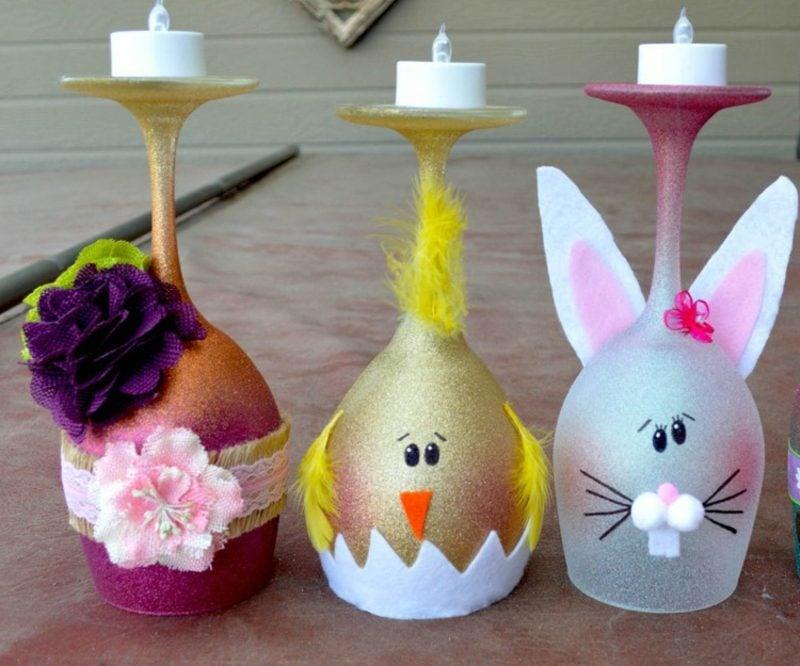 Gläser dekorieren Teelichthalter Ostern