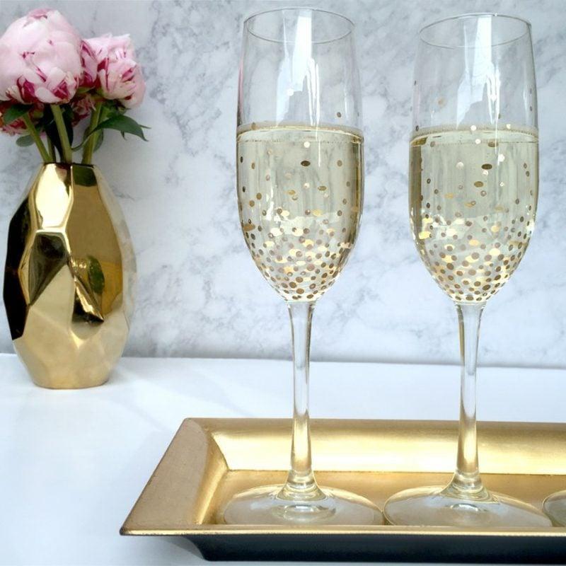 Gläser dekorieren Sekt Punktenmuster golden