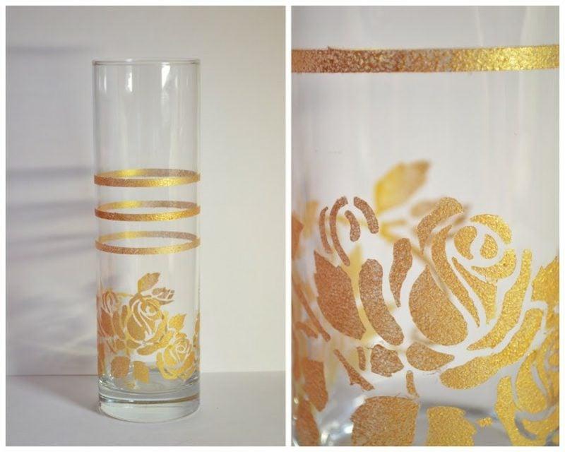 Gläser dekorieren Schablone verwenden