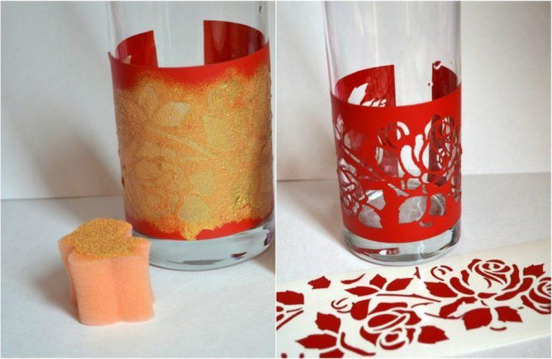 Gläser dekorieren Schablon Rosen