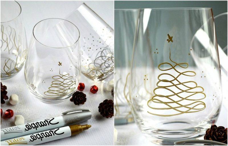 Gläser dekorieren Edding Marker Weihnachten
