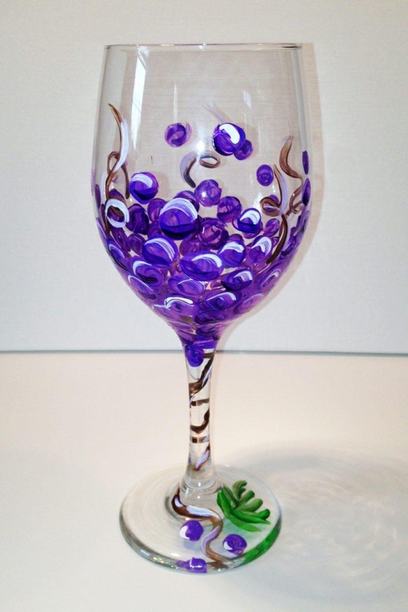 Gläser dekorieren Traube lila