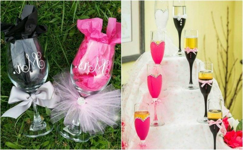 Gläser dekorieren Hochzeit kreative Ideen