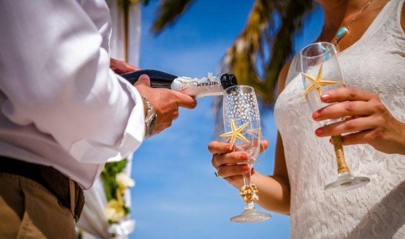 Gläser dekorieren Sekt maritim Hochzeit