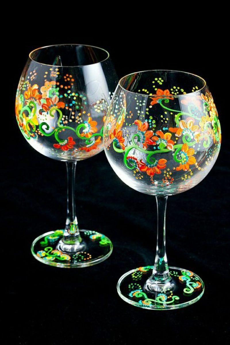 Gläser dekorieren Blumenmuster originell