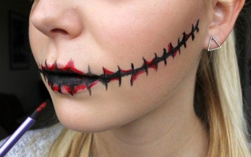 Halloween Make up einfach Mund genäht Zombie