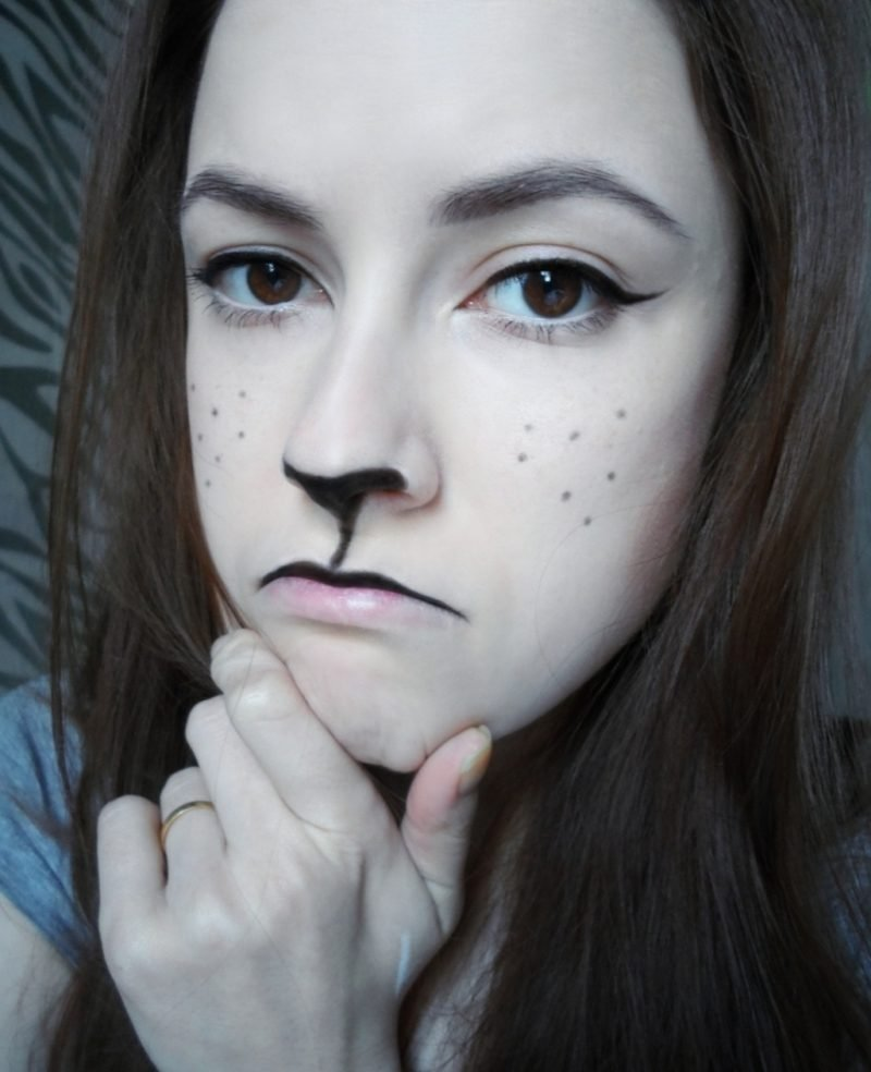 Halloween Make up einfach Katze herrlicher Look