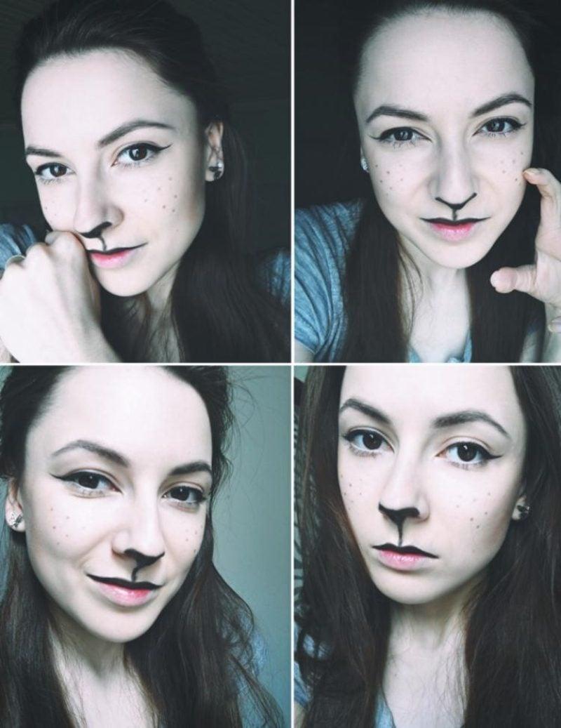 Halloween Make up einfach Katze Anleitung