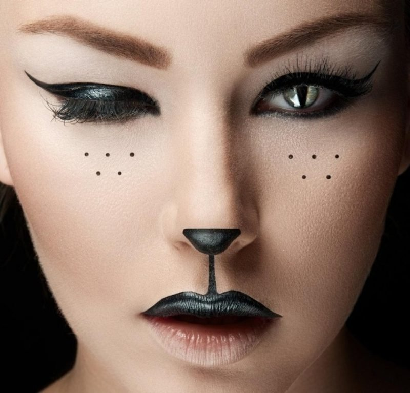 Halloween Make up einfach originelle Ideen Katze