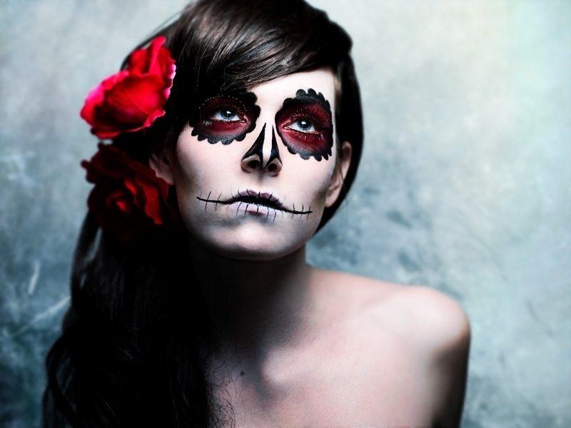 Halloween Make up einfach La Catrina Damen