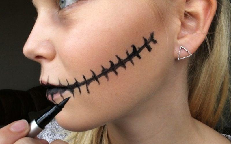 Halloween Make up einfach Mund genäht Eyeliner