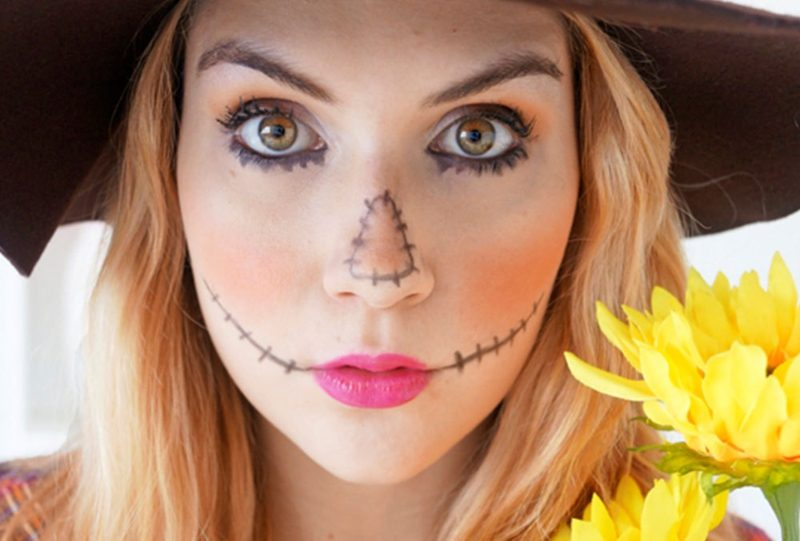 Halloween Make up einfach Nähte Mund Nase