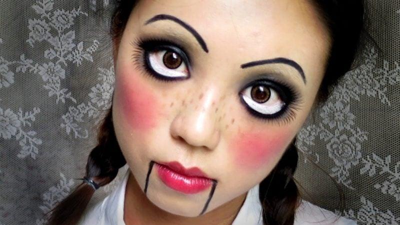 Halloween Make up einfach Puppe gruselig damen