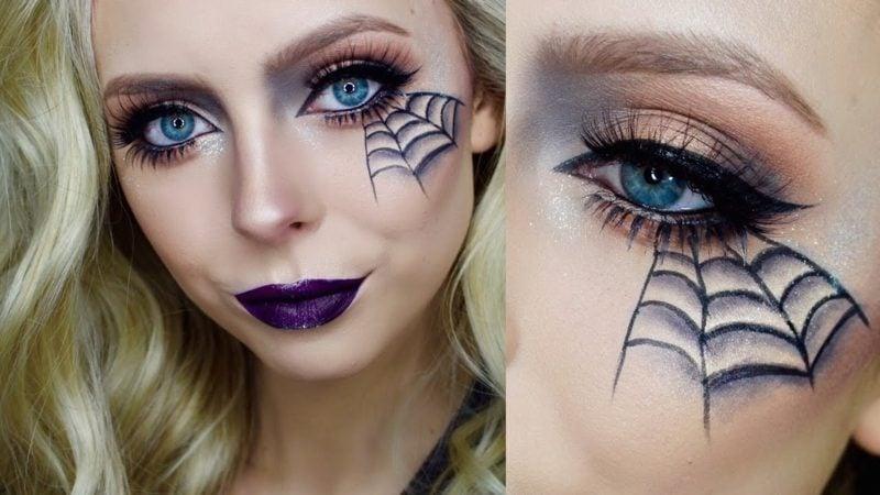 Halloween Make up einfach Spinnennetz