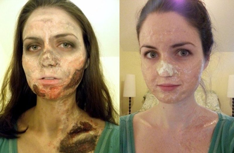 Halloween Make up einfach Zombie Kunsthaut