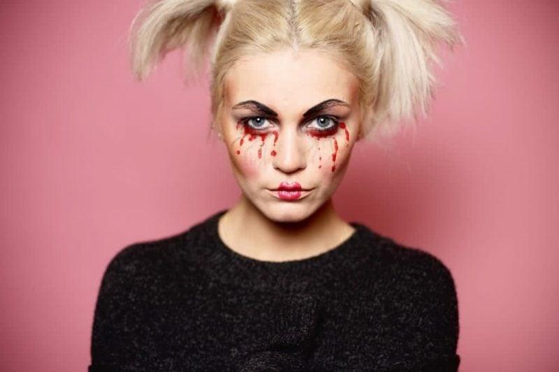 Halloween Make up einfach Tränen Kunstblut