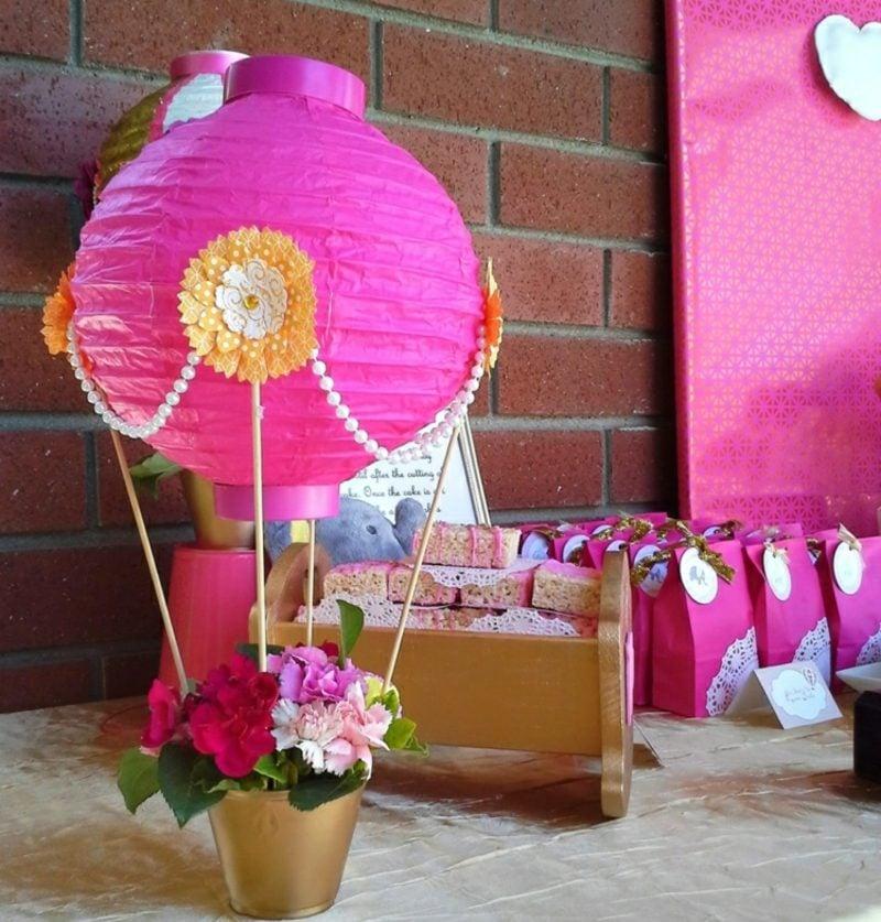 Heiβluftballon basteln Lampenschirm Blumentipf