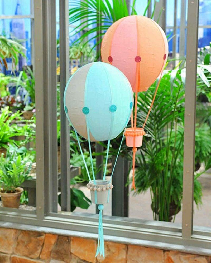 Heiβluftballon basteln aus Pappmche Gartendeko