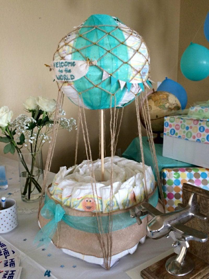 Heiβluftballon basteln Geschenk zur Geburt