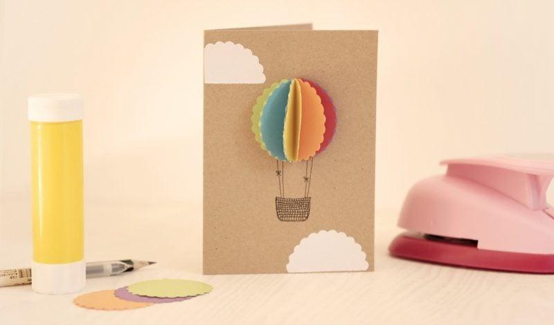 Heiβluftballon basteln Papier Geburtstagskarte