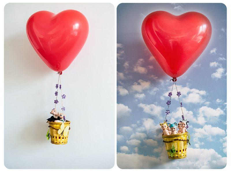 Heiβluftballon basteln Helium Herzform