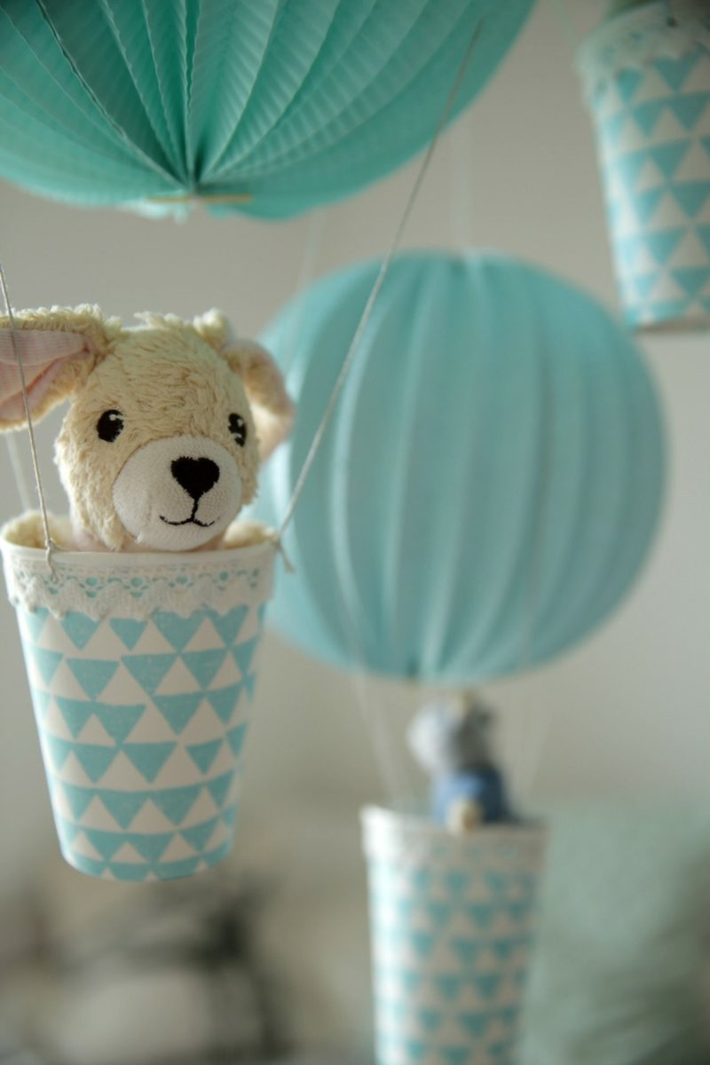Heiβluftballon basteln Deko Kinderzimmer