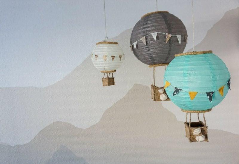 Heiβluftballon basteln Lampenschirm tolle Idee