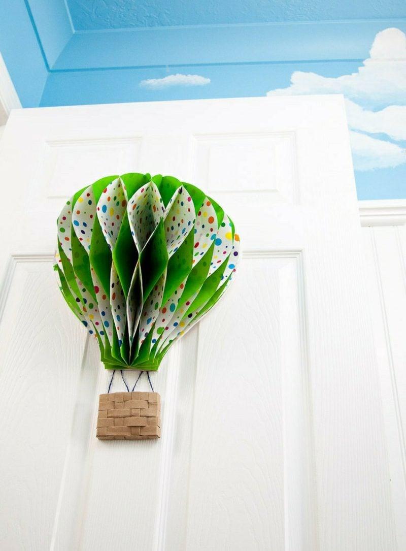 Heiβluftballon basteln aus Papier 3D Deko