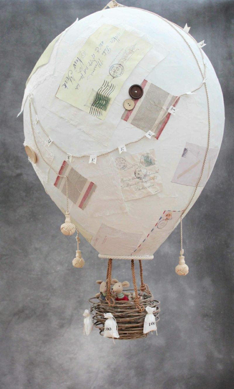 Heiβluftballon basteln aus Pappmache dekorieren