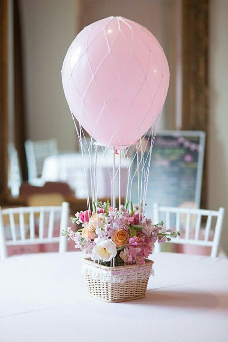 Heiβluftballon basteln tolle Tischdeko Blumentopf