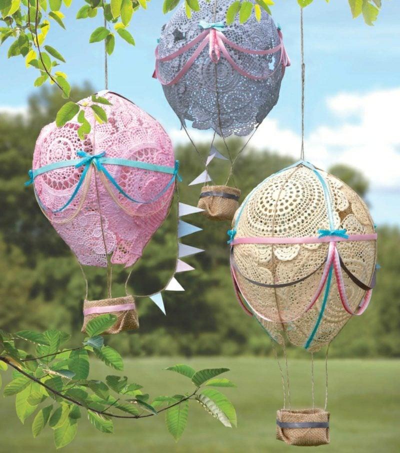 Heiβluftballon basteln Gartendeko Spitze