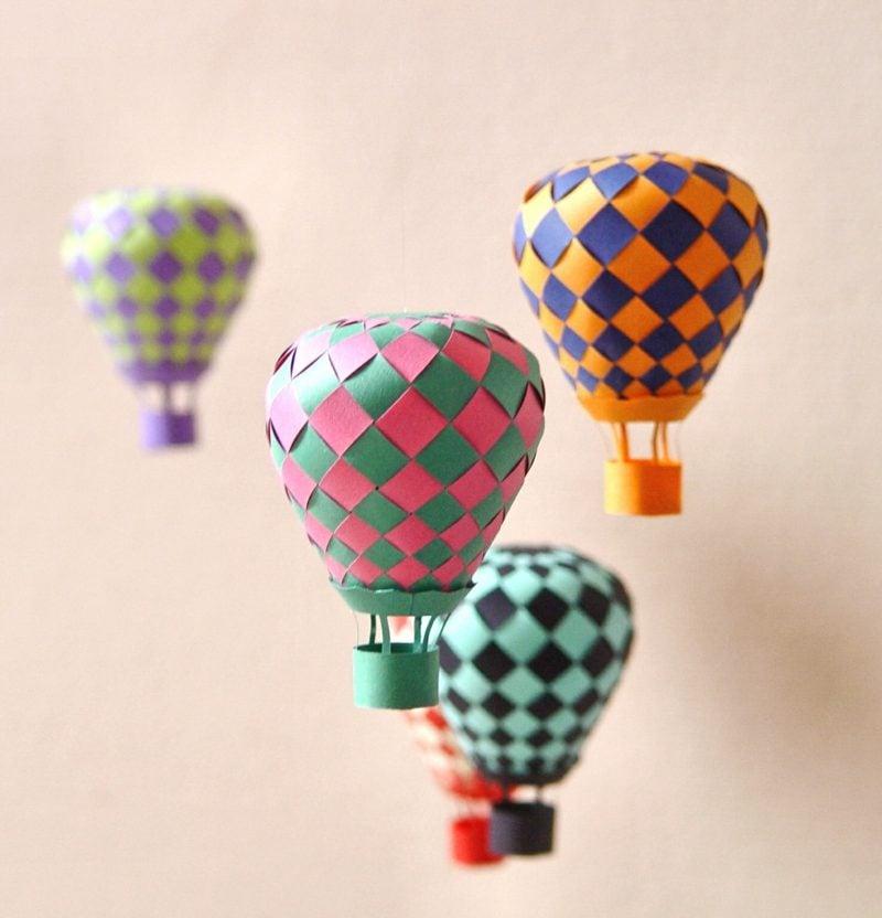 Heiβluftballon basteln als originelle Deko DIY