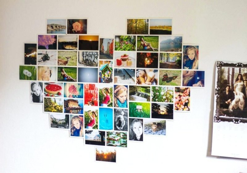 Fotowand gestalten ohne Bilderrahmen Herzform