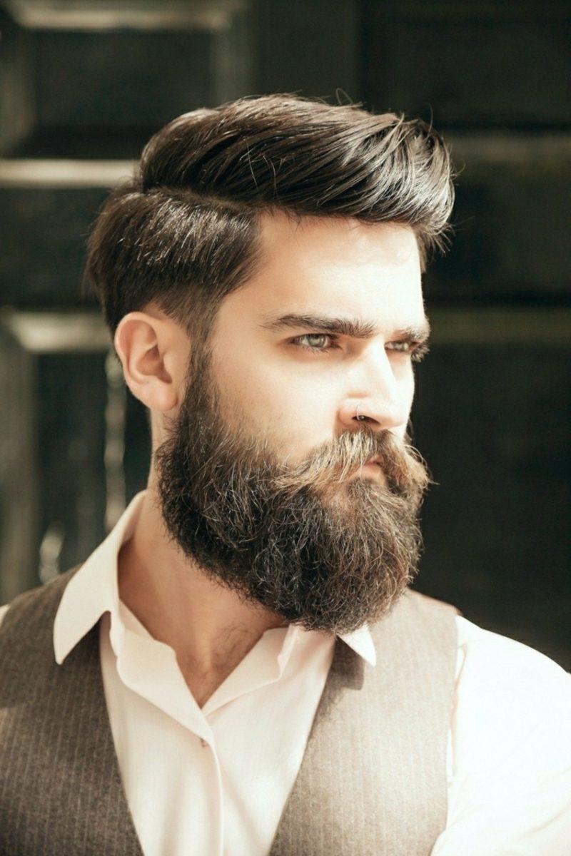Bartfrisuren Hipster Bart Moustache moderner Haarschnitt Seitenscheitel