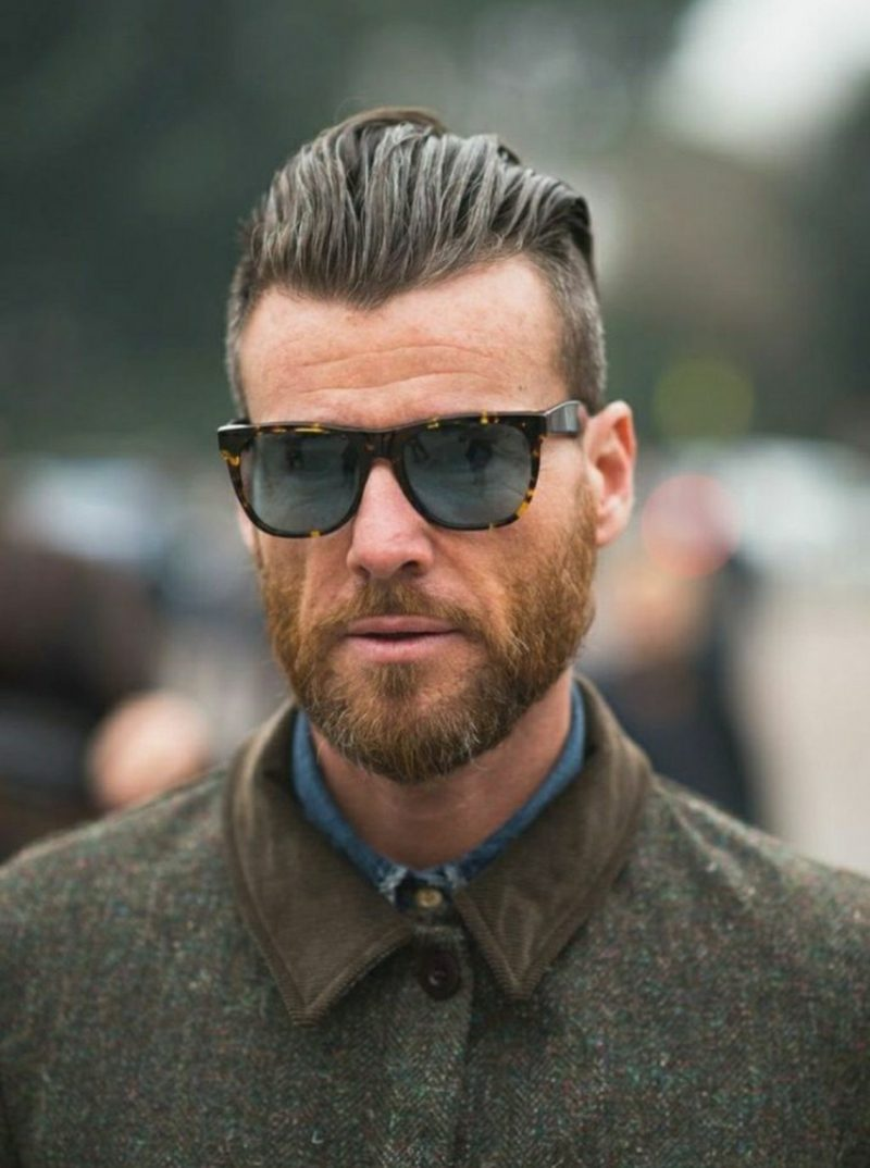 Bartfrisuren Hipster Bart kurz Pompadour Haarschnitt