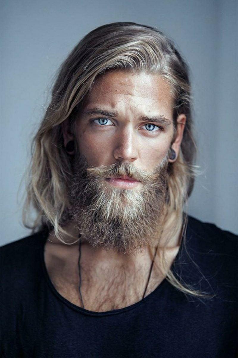 Bartfrisuren Hipster Bart blond lange Haare blaue Augen