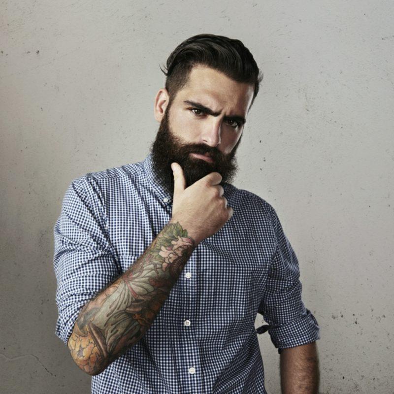 Bartfrisuren Hipster Bart Tattoos karohemd